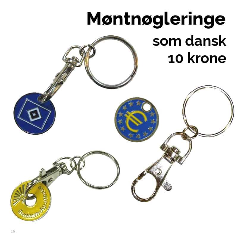 Møntnøglering i størrelse som dansk 10 krone