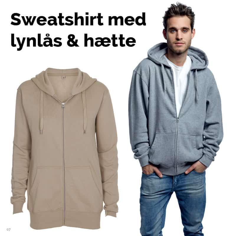 Sweatshirt med lynlås og hætte