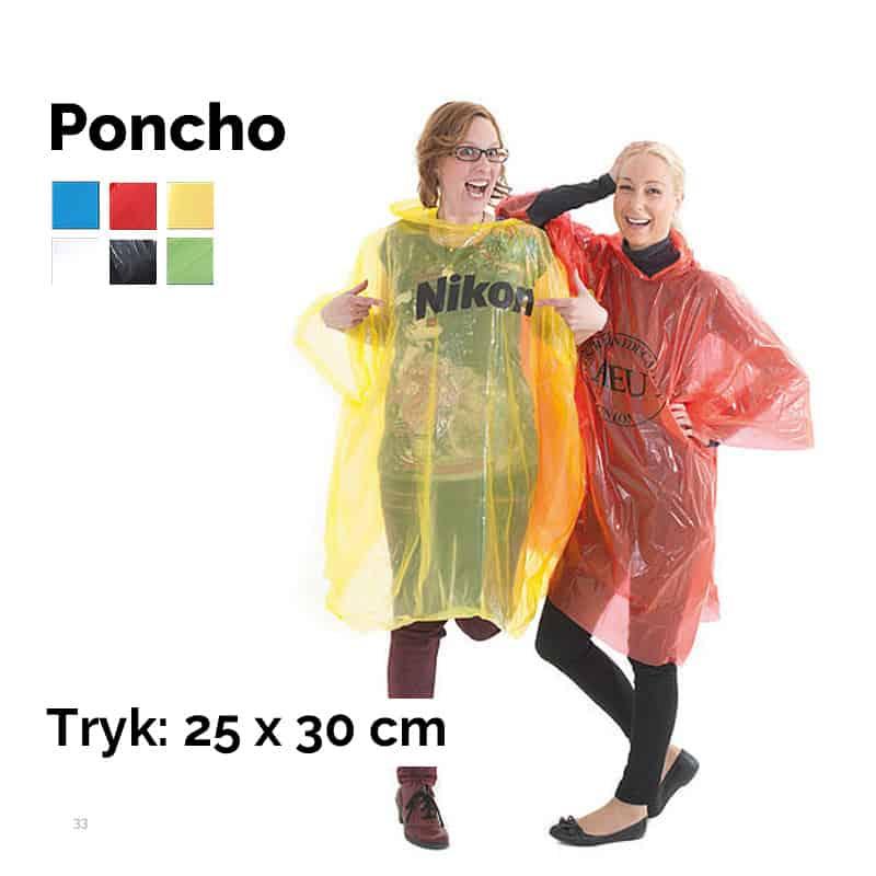 Poncho med tryk på front eller ryg