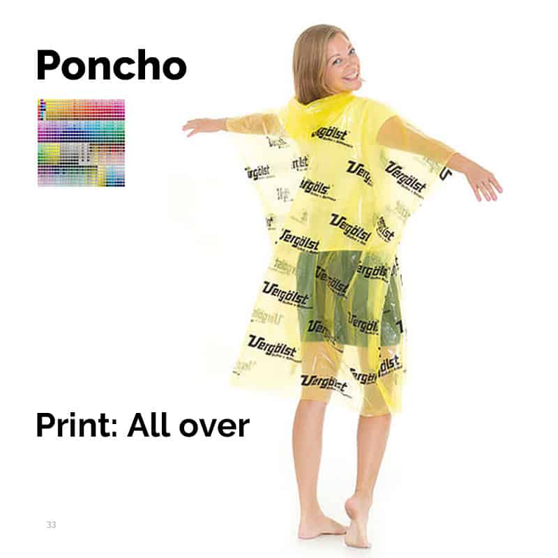 Poncho med tryk all-over