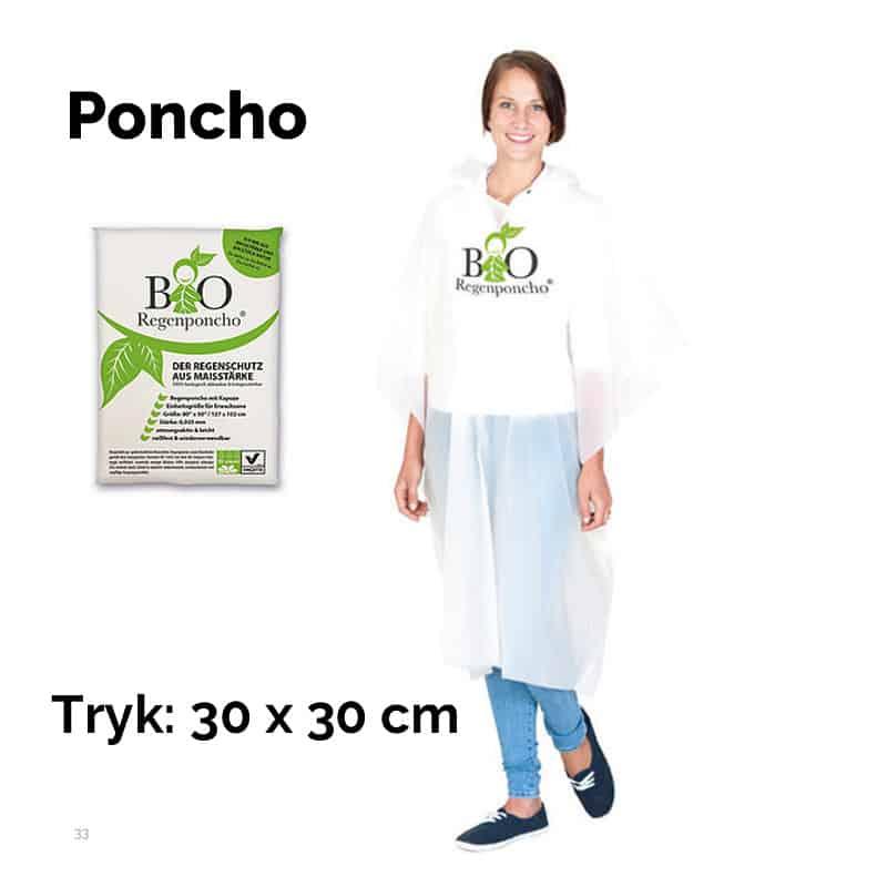 Bio - Poncho med tryk på front eller ryg