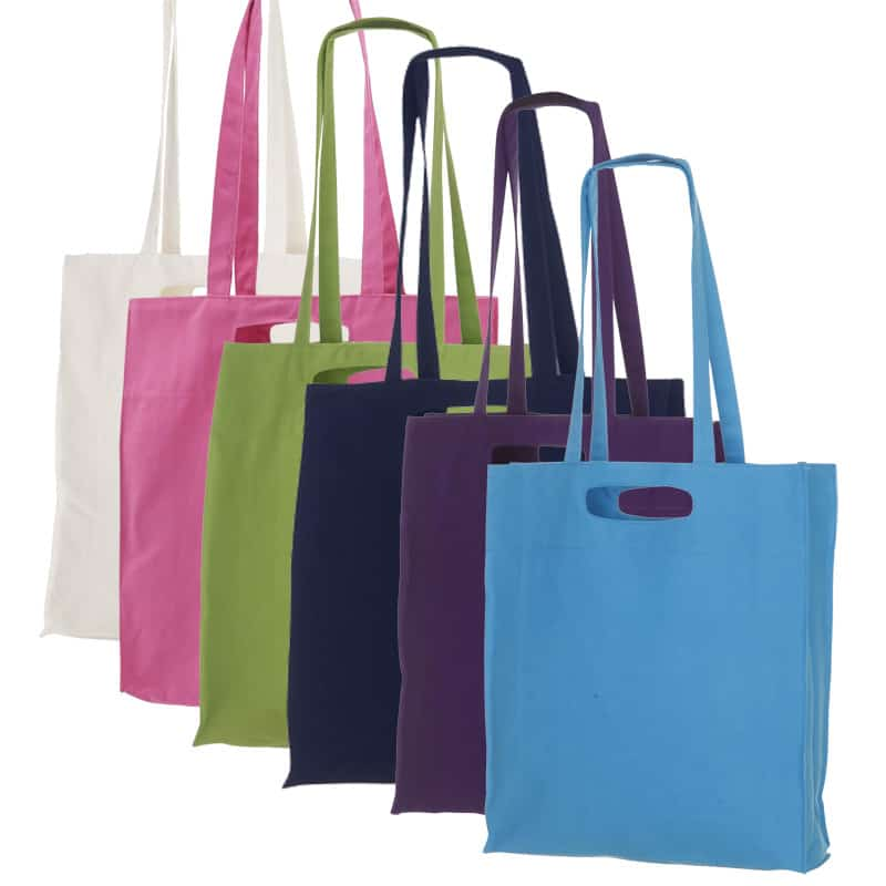 Shoppingbag med lang hank / bærehåndtag - Farvet